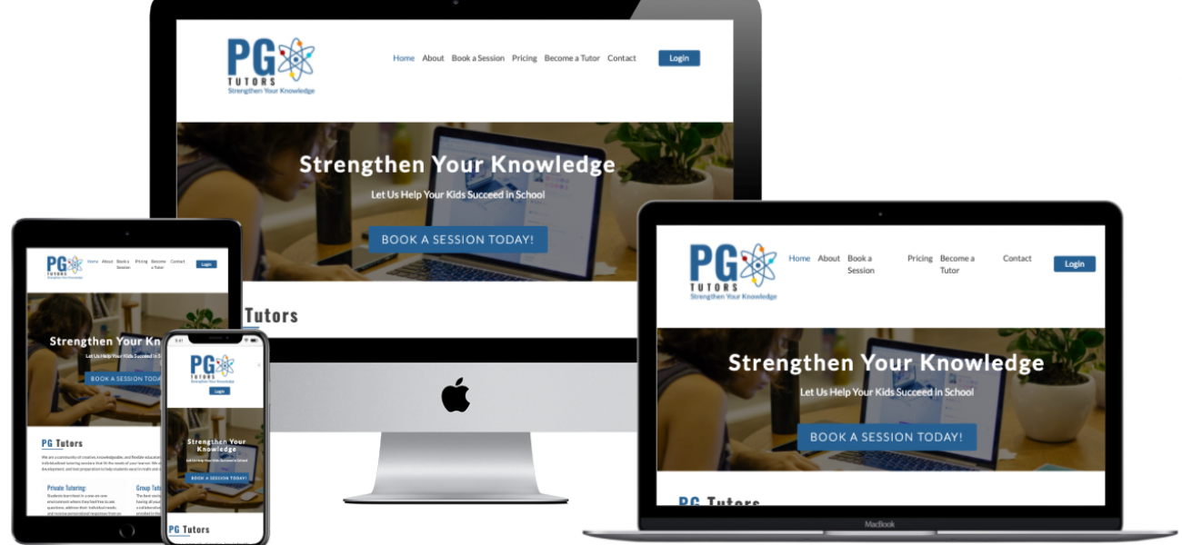 PG Tutors website desveloped by Seacost Web Desing & Development